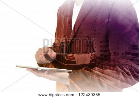 Double Exposure Of Business Man And Skytrain Or Subway