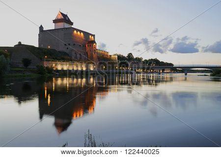 View of Castle Herman white summer night. Narva, Estonia