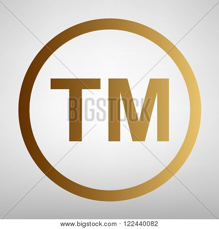 Trade mark sign. Flat style icon with golden gradient