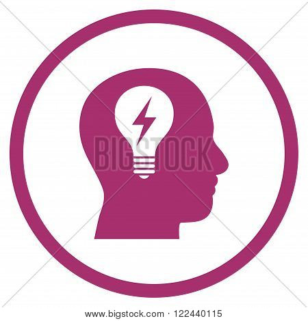Head Bulb vector icon. Picture style is flat head bulb rounded icon drawn with purple color on a white background.