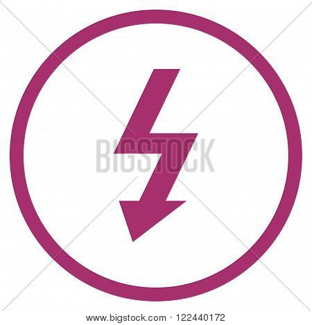 High Voltage vector icon. Picture style is flat high voltage rounded icon drawn with purple color on a white background.