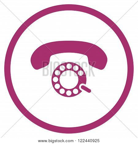 Pulse Dialing vector icon. Picture style is flat pulse dialing rounded icon drawn with purple color on a white background.