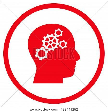 Brain Configuration vector icon. Picture style is flat brain gears rounded icon drawn with red color on a white background.