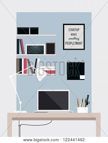 Flat home office interior illustration with desktop, vector