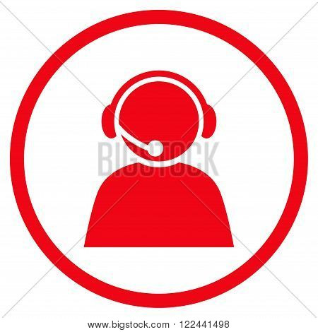 Call Center Operator vector icon. Picture style is flat call center operator rounded icon drawn with red color on a white background.