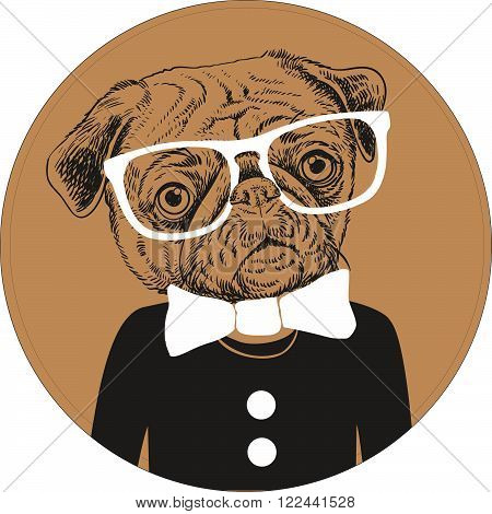 Fashion Hand Drawn Vector Portrait of Pug Dog in white glasses, black sweater with white bow.