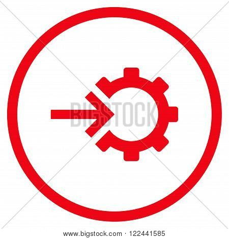 Cog Integration vector icon. Picture style is flat cog integration rounded icon drawn with red color on a white background.