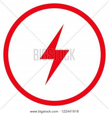 Electricity vector icon. Picture style is flat electricity rounded icon drawn with red color on a white background.