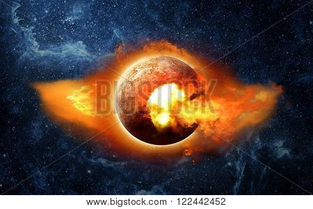 Fire planet Nibiru on the background of the starry sky.