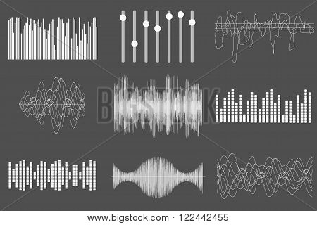 White sound music waves. Audio technology, visual musical pulse. Vector illustration