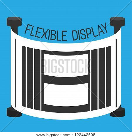 Flexible display smartphone flat style color background