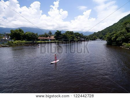 SAO SEBASTIAO, SAO PAULO, BRAZIL - CIRCA FEBRUARY 2016: Top View of Exotic Lake in Brazil