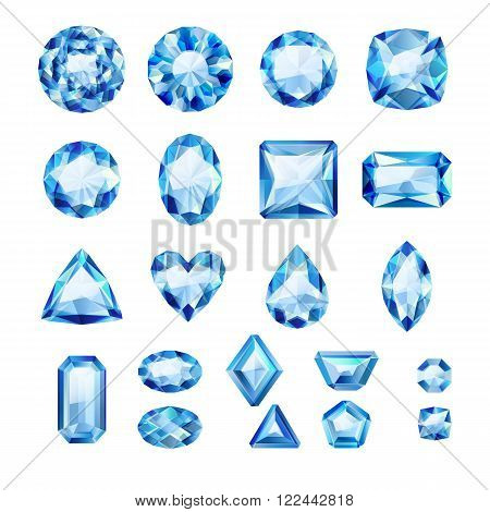 Set of realistic blue jewels. Colorful gemstones. Sapphires isolated on white background.