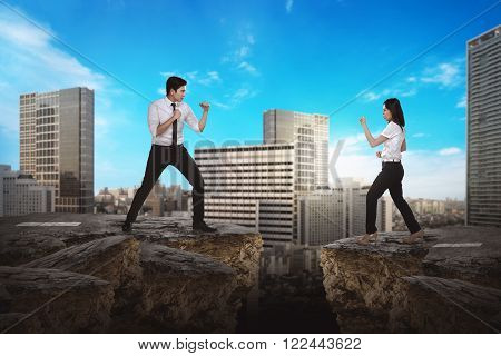 Business Man And Woman Fighting
