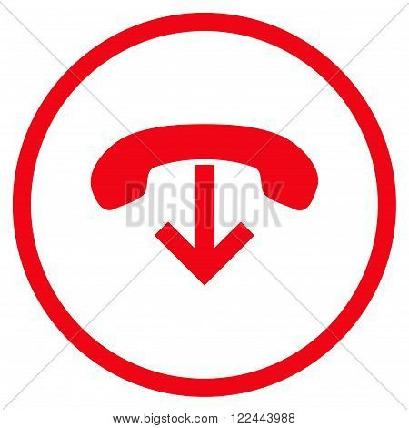 Phone Hang Up vector icon. Picture style is flat phone hang up rounded icon drawn with red color on a white background.