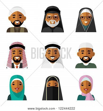 Different  islamic saudi arabic ethnic man and woman smiling faces in traditional clothing