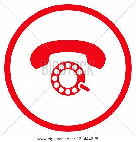 Pulse Dialing vector icon. Picture style is flat pulse dialing rounded icon drawn with red color on a white background.