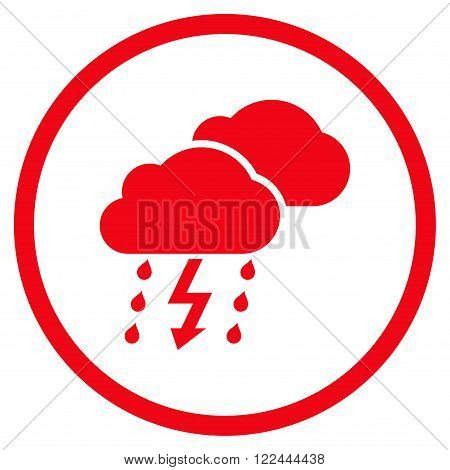 Thunderstorm vector icon. Picture style is flat thunderstorm rounded icon drawn with red color on a white background.