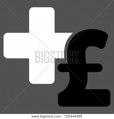 Medical Pound Business vector icon. Medical Pound Business icon symbol. Medical Pound Business icon image. Medical Pound Business icon picture. Medical Pound Business pictogram.