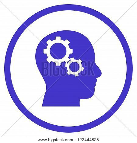 Brain Config vector icon. Picture style is flat brain gears rounded icon drawn with violet color on a white background.
