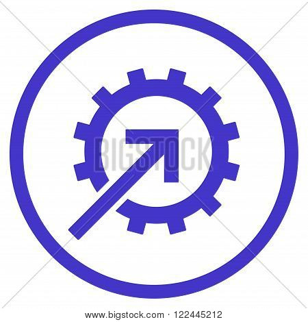 Cog Integration vector icon. Picture style is flat cog integration rounded icon drawn with violet color on a white background.