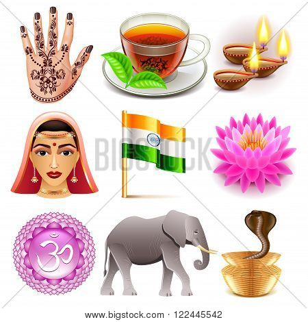 India icons detailed photo realistic vector set