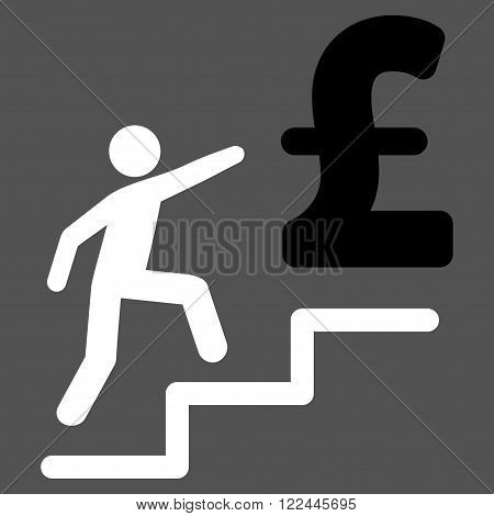 Pound Business Stairs vector icon. Pound Business Stairs icon symbol.
