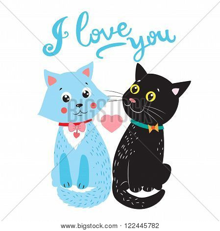 Love Cats. Vector Cartoon Animals Illustration. Two Cats. I Love You So Much. Cats Paw. Cats For Adoption. Vector Image.