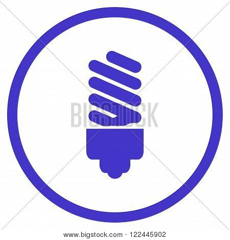 Fluorescent Bulb vector icon. Picture style is flat fluorescent bulb rounded icon drawn with violet color on a white background.