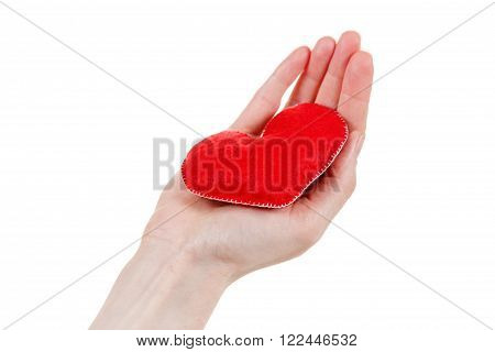 Heart symbol in hands. Concept of health protection and love. Woman holding heart in her hands.