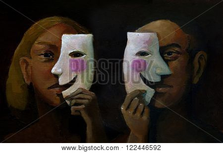 A man and a woman in the foreground hide their feelings behind a smiling mask