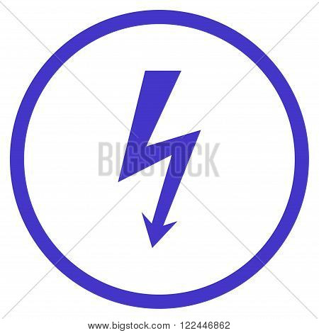 High Voltage vector icon. Picture style is flat high voltage rounded icon drawn with violet color on a white background.