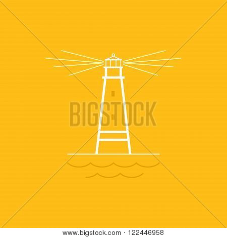 Lighthouse on Yellow Background , Beacon and Mountains  , Line Style Design,  Design Element, Emblem for Travel Industry, Marine Emblem,  Vector Illustration