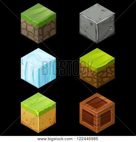 3D Game block Isometric Set Cube for game element texture nature brick for computer game illustration
