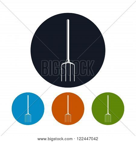 Garden Fork Icon, Spading Fork, Digging Fork or Graip, S Four Types of Colorful Round Icons Pitchfork , Agricultural Tool , Garden Equipment,  Vector Illustration