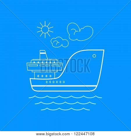 Cargo Ship , Marine Emblem with Dry Cargo Ship, Line Style Design, Logo Design Element, Sea Freight Transportation, Logistics,  Vector Illustration