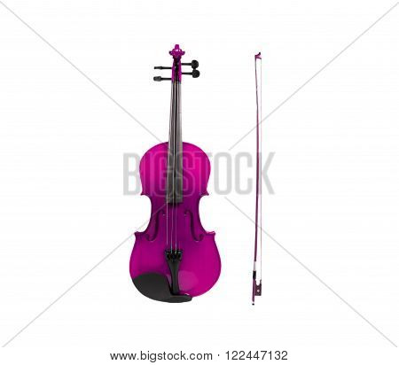 Violin and fiddle stick isolated with clipping path.
