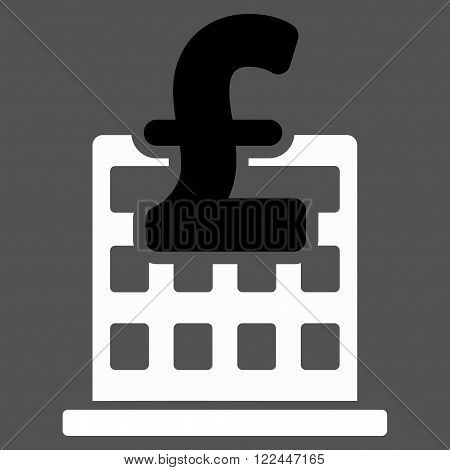 Pound Financial Company Building vector icon. Pound Financial Company Building icon symbol. Pound Financial Company Building icon image. Pound Financial Company Building icon picture.