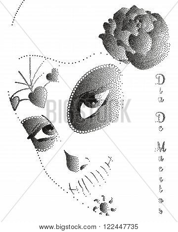 a beautiful abstract mask of sugar skull by a mexican woman with roses stipple. Dia de los Muertos. Symbolic illustration for Day of the Dead. Perfect for posters, t-shirts, cards, print products.