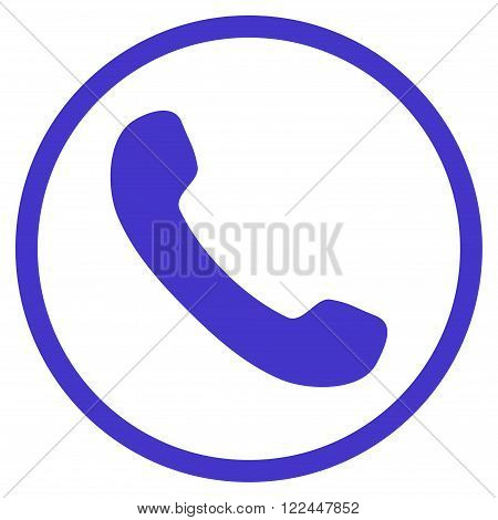 Phone Receiver vector icon. Picture style is flat phone receiver rounded icon drawn with violet color on a white background.