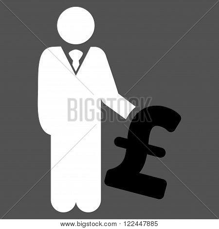 Pound Investor vector icon. Pound Investor icon symbol. Pound Investor icon image. Pound Investor icon picture. Pound Investor pictogram. Flat pound investor icon.