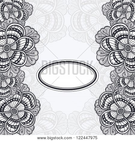 Template flyer or banner or frame or label with  Zen-doodle or Zen-tangle flowers black on white for invitation or congratulation for decorate package