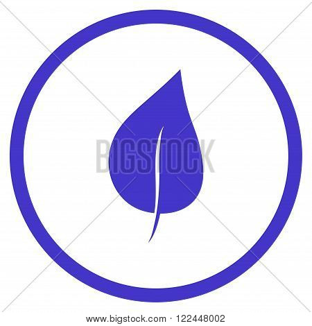 Plant Leaf vector icon. Picture style is flat plant leaf rounded icon drawn with violet color on a white background.