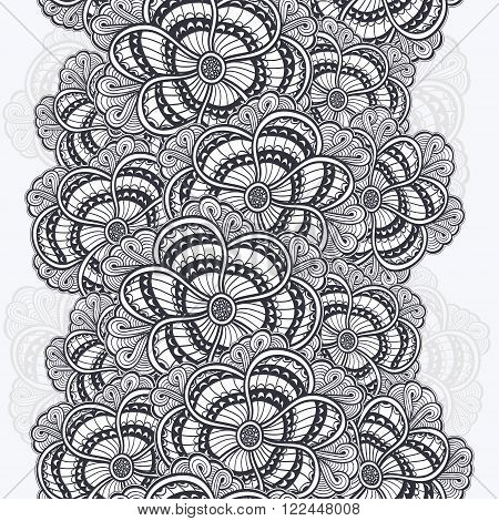 Seamless border with  Zen-doodle or  Zen-tangle flowers texture black on white for coloring page or relax coloring book or wallpaper or for decorate package clothes  or different things