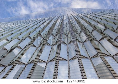NEW YORK CITY, USA - SEPTEMBER 28, 2015: Close up of the Freedom Tower in New York City, USA