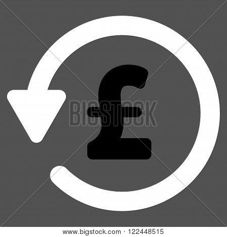Pound Rebate vector icon. Pound Rebate icon symbol. Pound Rebate icon image. Pound Rebate icon picture. Pound Rebate pictogram. Flat pound rebate icon. Isolated pound rebate icon graphic.