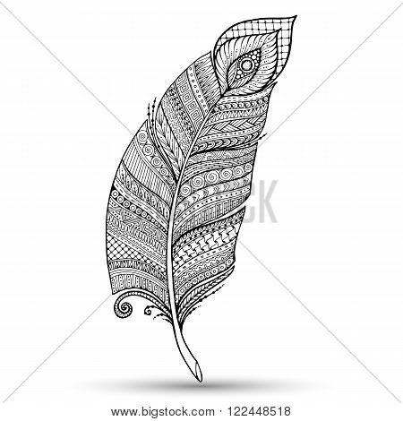 Artistically drawn, stylized, vector feather on a white background. Vintage tribal feather. Series of doodle feather.