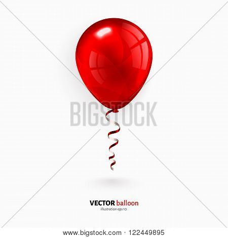 Red party flying balloon with red streamer isolated on white background.