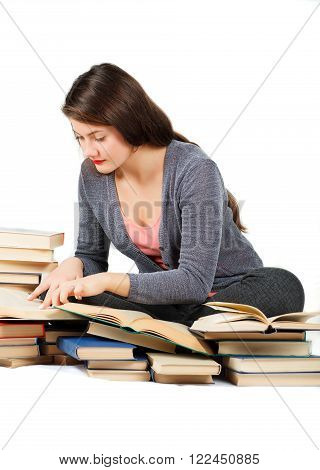 Girl With Books Isolated On White Background.