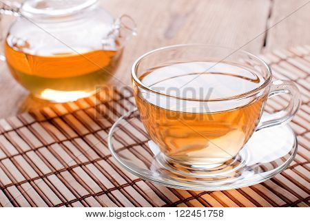 tea cup and teapot with green tea